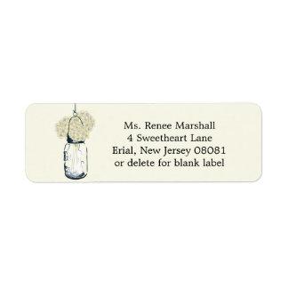 Rustic Hanging Mason Jar Hydrangeas Return Address Label