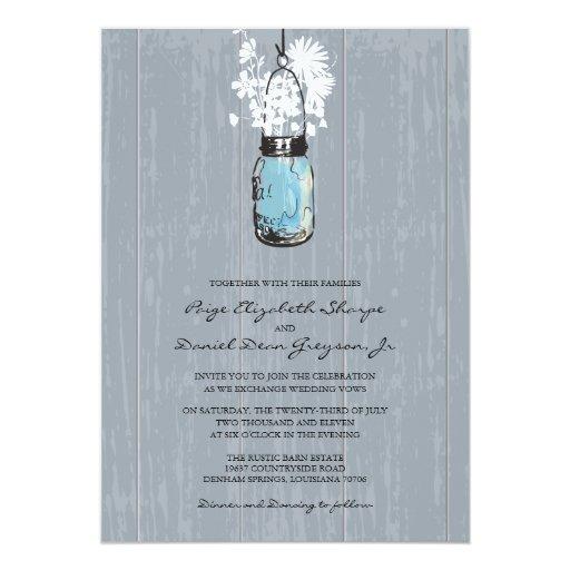 Rustic Hanging Mason Jar Wedding 5x7 Paper Invitation Card