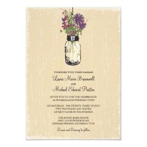 Rustic Hanging Mason Jar Wedding Personalized Invite