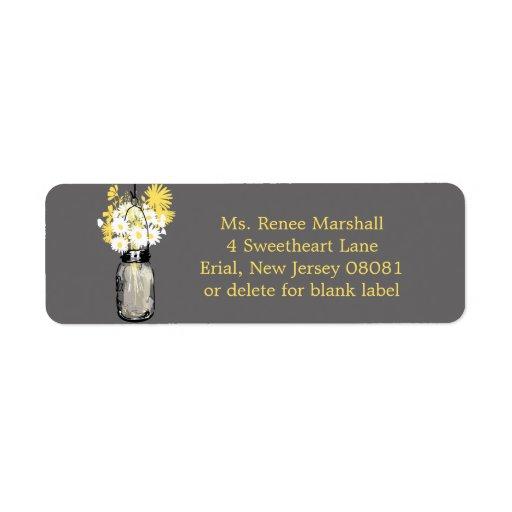 Rustic Hanging Mason Jar Wedding Label