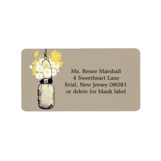 Rustic Hanging Mason Jar Wedding Labels