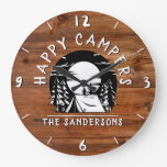Rustic Happy Campers Tent Family Name Wood Design Large Clock