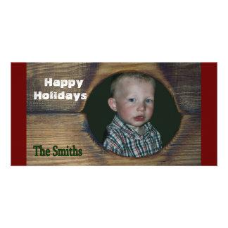 Rustic Happy Holiday Christmas Customize Card Custom Photo Card