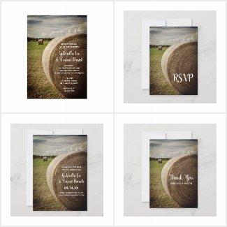 Rustic Hay Bales Farm Wedding Invitations