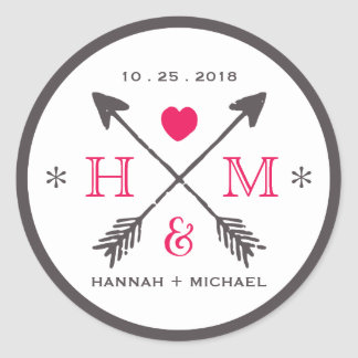 Rustic Heart and Arrow Monogram Wedding Sticker