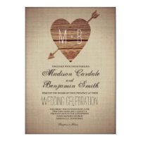 Rustic Heart Arrow Country Wedding Invitations