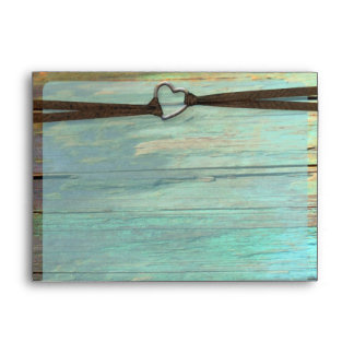 Rustic heart buckle turquoise wood envelopes