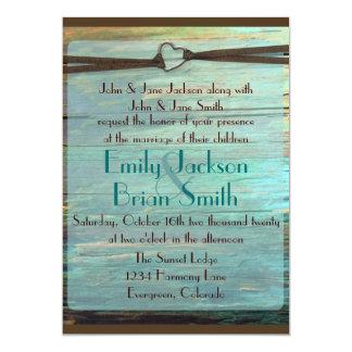 Rustic heart buckle turquoise wood wedding invites