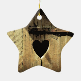 Rustic Heart Carved Wooden Door Rusty Lock Double-Sided Star Ceramic Christmas Ornament