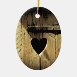 Rustic Heart Carved Wooden Door Rusty Lock Double-Sided Oval Ceramic Christmas Ornament