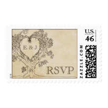 Rustic Heart in a Tree RSVP Stamps