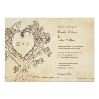 "Rustic Heart in a Tree Wedding Invitations 5"" X 7"" Invitation Card"