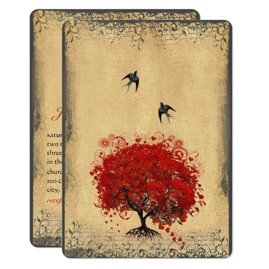 Rustic Heart Leaf Red Tree Love Bird Wedding Card