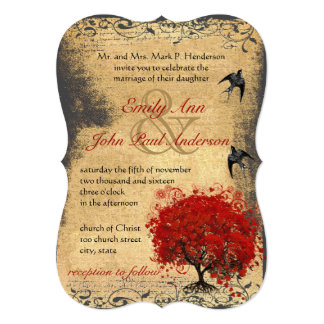 Rustic Heart Leaf Red Tree Vintage Birds Wedding Card