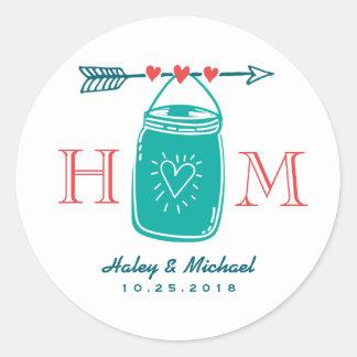 Rustic Heart Mason Jar Monogram Wedding Sticker