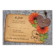 Rustic Heart Orange Daisy Country Wedding RSVP Invitation