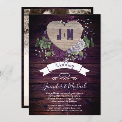 Rustic Heart PHOTO Wedding Invite Purple Wood
