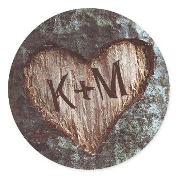 Valentines Themed rustic heart tree wedding classic round sticker