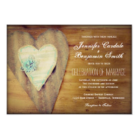 Rustic Hearts Barn Wood Country Wedding Invites