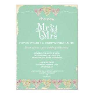 "Rustic Hearts Chalkboard Post Wedding Invitation 4.5"" X 6.25"" Invitation Card"