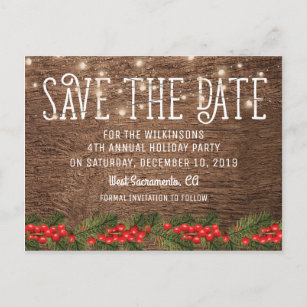 Christmas Save The Date.Rustic Holiday Christmas Party Save The Date Announcement Postcard