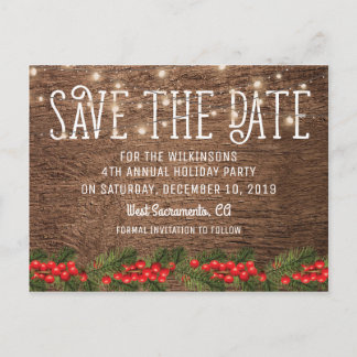 Rustic Holiday Christmas Party Save the Date Announcement Postcard