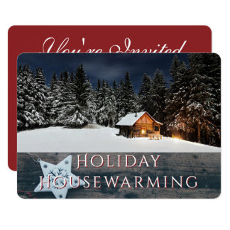 Rustic Holiday Housewarming Party Snow Cabin Card