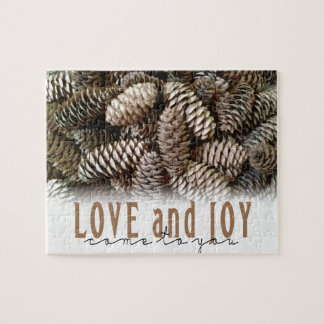 Rustic Holiday Love and Joy Pine Cone Jigsaw Puzzle