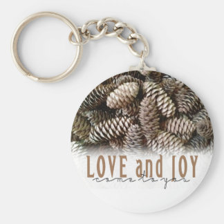 Rustic Holiday Love and Joy Pine Cone Keychain