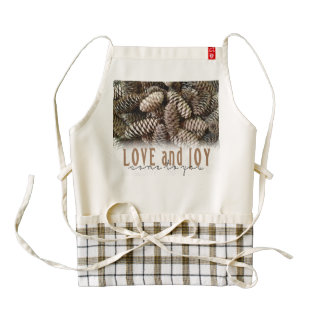 Rustic Holiday Love and Joy Pine Cone Zazzle HEART Apron