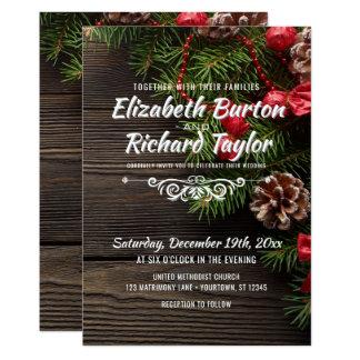 Rustic Holiday Pine Wreath Winter Wedding Card