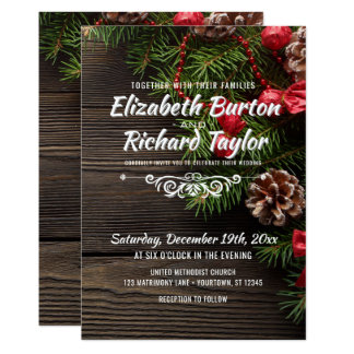 Rustic Holiday Pine Wreath Winter Wedding Invitation