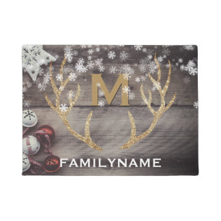 Rustic Holiday Winter Snowflakes Antlers Monogram Doormat