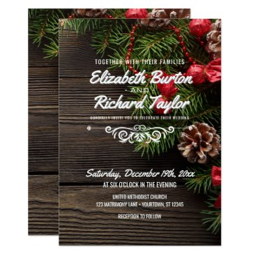 Beach Themed Rustic Holiday Winter Wedding Card