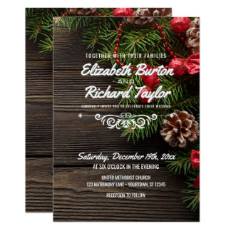 Rustic Holiday Winter Wedding Invitation