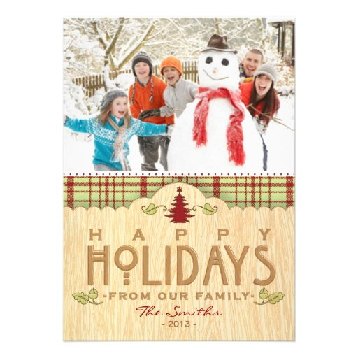 Rustic Holiday Woodland Family Photo Greeting Invites