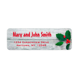 Rustic Holly Christmas Address Labels