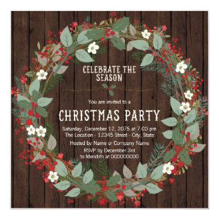 Rustic Holly Wreath Christmas Party Card at Zazzle
