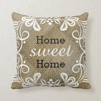 Rustic Home Sweet Home Burlap Throw Pillow