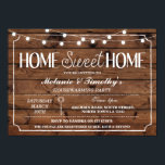 """Rustic Home Sweet Home Housewarming Lights Invite<br><div class=""""desc"""">Home Sweet Home style wood housewarming invitation. Back print included.</div>"""