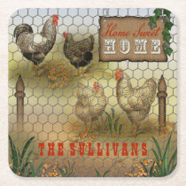 Rustic Home Sweet Home Vintage Chickens Name Square Paper Coaster