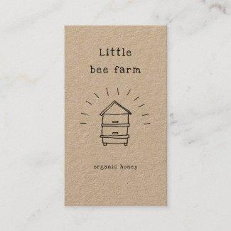 rustic honey doodle beehive kraft business card