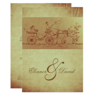 Rustic horse and carriage vintage look wedding card