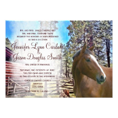 Rustic Horse Barn Corral Wedding Invitation