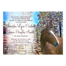Rustic Horse Barn Corral Wedding Invitation Custom Invitations