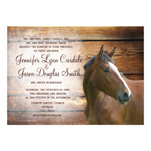 Rustic Horse Barn Wood Wedding Invitations