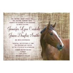 Rustic Horse Burlap Print Wedding Invitations