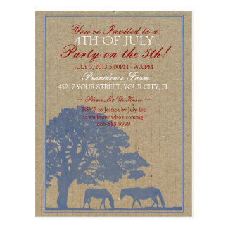 Rustic Horse Farm 4th of July Party Postcard