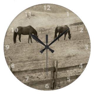 Rustic Horse Farm Clock
