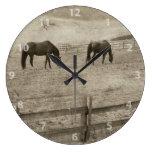 Rustic Horse Farm Large Clock